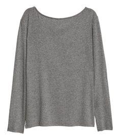 Shirt mit U-Boot-Ausschnitt | Dunkelgraumeliert | Damen | H&M AT
