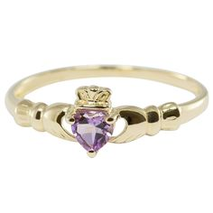 9ct Yellow Gold Amethyst Claddagh/Cladding Ring only $74 - purejewels.com.au