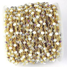 5 Feet Mystic Cats Eye Hydro Seed Beads Rosary Chain 3-4mm 24k Gold Plated