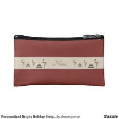 Personalized Bright Holiday Stripes  Flamingo Bag