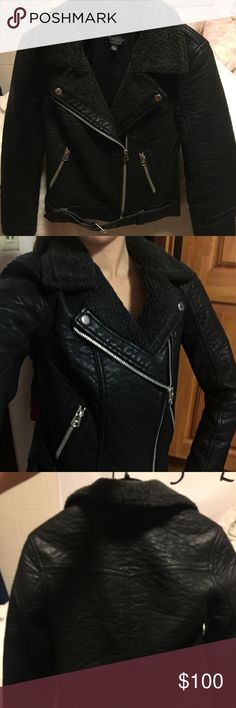 Host pick! Topshop Black Leather Jacket Has a black fur collar, size 2 but could fit an xs-s or a 0, never worn but it's really warm and chic, has a belt on bottom too Topshop Jackets & Coats