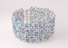 Bracelet with light blue crystal beads and por SelwerJewelry