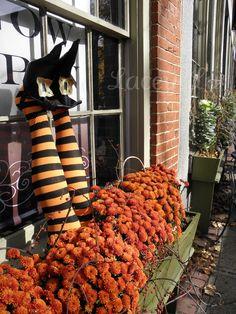 Halloween Flower Box - Witches legs are made out of pool noodles, stockings, thrift store shoes
