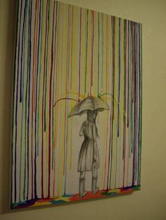 It's raining paint!  Not another crayon picture, this one is painted and I love it!!
