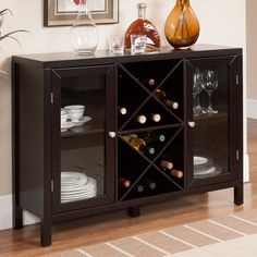 Features:  -Color: Espresso.  -Material: Wood and glass.  -American style…