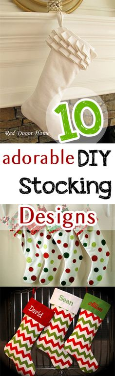DIY Christmas Stocking Patterns and Ideas- Fun and Creative DIY Stocking designs. Diy Christmas Stocking Pattern, Christmas Sewing, Christmas Projects, Holiday Crafts, Holiday Fun, All Things Christmas, Christmas Holidays, Christmas Decorations, Christmas 2017