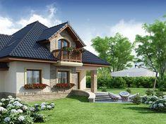 Projekt domu Damokles 140,59 m2 - koszt budowy 255 tys. zł - EXTRADOM House Balcony Design, House With Balcony, Duplex House Design, Dream Home Design, Modern House Design, Small Country Homes, Dream House Exterior, Design Case, Home Fashion