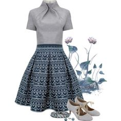 #286: Print Skirt, Grey Top