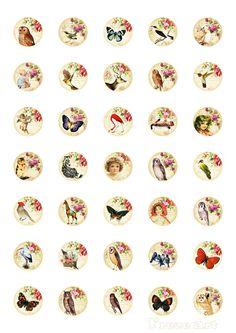 Digital Collage Sheet - 1 inch Circles -