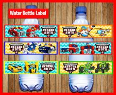 Rescue Bots Water Bottle Label instant download Printable
