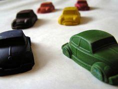 VW Beetle and Mini Crayons (6 per packet) $8.00 felt.co.nz
