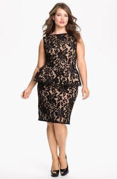 Tadashi Shoji Lace Peplum Dress (Plus Size) | Nordstrom