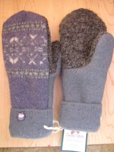 Sweaty Mitts  Upcycled Wool Sweater Mittens Women's by SweatyMitts, $35.00 Women's Mittens Purple / Gray