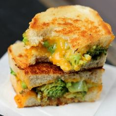 A play on the classic broccoli and cheese soup, this is a delicious sandwich filled with broccoli and cheese.