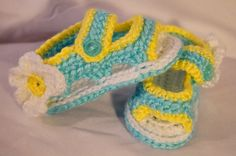 Yelow and Blue Daisy Baby Sandals by crochetbymegs on Etsy, $10.00