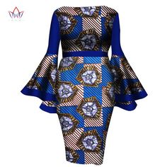 African Women Dress 2017 New Summer Lady Print Wax Dresses Bazin Riche Mid-Calf Africa Sexy Speaker sleeves Dress African Dresses For Women, African Print Dresses, African Attire, African Fashion Dresses, African Wear, Summer Dresses For Women, African Women, Dress Summer, African Style