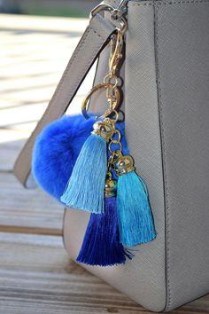 Rabbit Fur Pom Pom Keychain, Fur Pom Pom, Fur Ball Keychain, Gold Keychain, Pom Pom Purse Chain, Colorful Fur Keychain, blue color fur ball by ZEnella on Etsy https://www.etsy.com/listing/289144261/rabbit-fur-pom-pom-keychain-fur-pom-pom