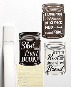 Add a bit of Southern say-so to your refrigerator or file cabinet with this set of 3 Mason jar magnets. Shaped like the familiar canning jar, each features a So