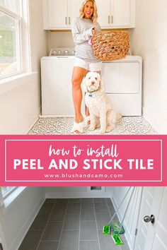 I'm sharing how to install peel and stick tile to any room in your home. The good news is, peel and stick tile is extremely easy to install and it only takes a few tools. Below are all the items I used, plus the exact peel and stick tile I used in my laundry room! #homediy #diyproject #laundryroom #homedecorproject #homedecorideas