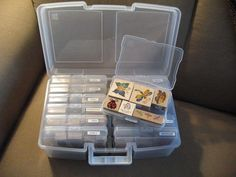 I love using these IRIS photo storage boxes for my wooden stamps EAch large box contains 12 4x6 boxes just the right size for one layer of wooden stamps I categorized mine and labeled each box so I can grab just the right box of stamps Clear so I can see
