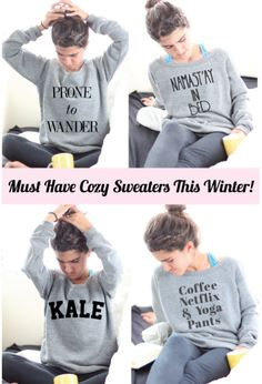 Cozy warm grey graphic sweaters for Fall