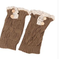 Adorable Bootie accessory, lace trim leg warmers Tan colored cable knit mini leg warmers dress up any Bootie , trimmed in crochet lace with button detail Accessories