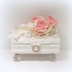 Shabby Chic Jewelry Box, Shabby Chic Decor, White Jewelry Box, Trinket Box, Cottage Chic Decor, Wood Trinket Box, Shabby Chic Box, Box