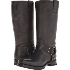 Frye Heath Harness Women's Boots, Black ($185) ❤ liked on Polyvore featuring shoes, boots, black, mid-calf boots, black low heel boots, slip on boots, leather boots, black mid calf boots and frye boots