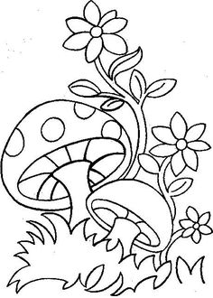 Spring coloring page - Printable drawing Spring Coloring Pages, Cute Coloring Pages, Flower Coloring Pages, Adult Coloring Pages, Coloring Books, Art Drawings For Kids, Easy Drawings, Hand Embroidery Designs, Embroidery Patterns