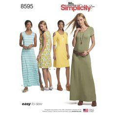 Create our easy-to-sew knit dress for Misses sizes XS - XL with sleeve and length variations. Sleeve options include cold shoulder, sleeveless or short sleeve. Simplicity sewing pattern.