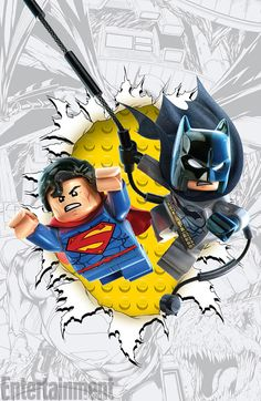 Dc Comics Superman and Batman Lego poster Batman Vs Superman, Batman Em Lego, Lego Dc, Gta 5, Comic Book Characters, Comic Books, Dc Comics, Lego Worlds, Cool Lego