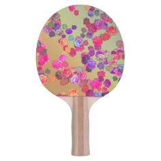 Pink and Violet Roses in a Random Pattern Ping-Pong Paddle