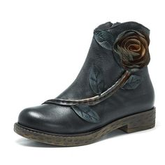 Sooo Comfy Vintage Handmade Rose Ankle Leather Boots
