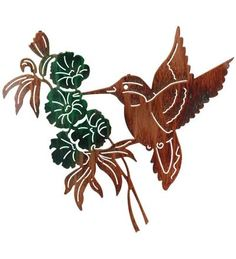 Hummingbird Scene Laser-Cut Wall Sculpture by Lazart