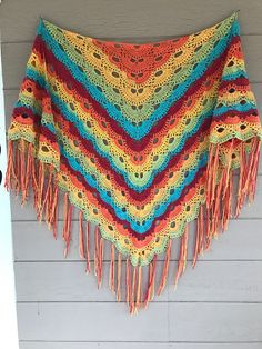 Virus shawl in caron cake rainbow sprinkles