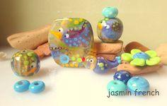 jasmin french ' purple birdies ' lampwork focal beads glass art jewelry kit set