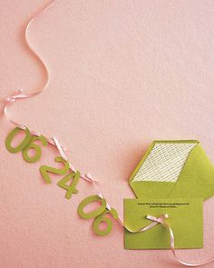 Numbers on ribbon for cute homemade card or invite...(date of party, birthday, baby due date, wedding date, etc).