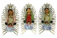 Hand Painted Virgencita Plis Wall Plaque. Available in original color, mint, and light pink. Only $15.00 each.