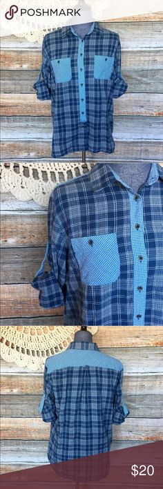 """Eliot J. Crew Blue Plaid Oversized Top Bust: 41"""" Length: 26"""" Bundle two or more items and I'll send you a discount! All my items have been freshly washed and steamed  If you have any questions, feel free to message me. Thanks for stopping by and have a lovely day! J. Crew Tops Button Down Shirts"""