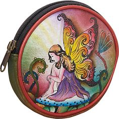 Anuschka Round Key Pouch/Coin Purse Enchanted Fairy - Anuschka Ladies Small Wallets