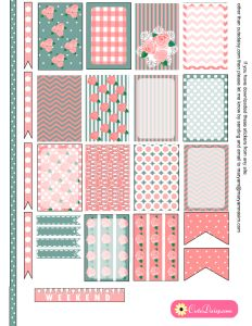Free Printable Sticker Kit for Planner in Pink and Teal