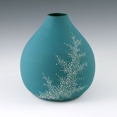 Vase Aqua  SALE Porcelain Pebble Vase in Aqua by kimwestad on Etsy, $68.00