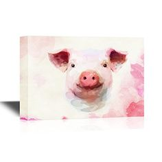 wall26  Pigs Canvas Wall Art  Adorable Watercolor Style Pig  Gallery Wrap Modern Home Decor  Ready to Hang  24x36 inches -- Read more  at the image link.Note:It is affiliate link to Amazon. #likes4likes