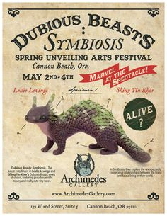 "archimedes-gallery: "" The 14th Annual Spring Unveiling Arts Festival Weekend May 2nd - 4th in Cannon Beach, Oregon Archimedes Gallery will be featuring Shing Yin Khor and Leslie Levings' Dubious..."
