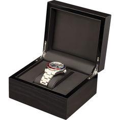 Single Black Mahogany Wood Watch Box