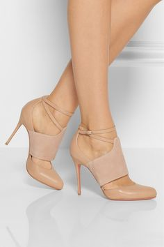 Christian Louboutin | Trotter 100 leather and suede pumps | NET-A-PORTER.COM