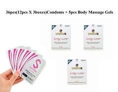 UNIDUS Climax Control Condom Long Love 12pcs X 3, Sarasara Massage Gel X 5pcs #UNIDUS
