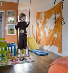 map, play room, gym, inside swing, children