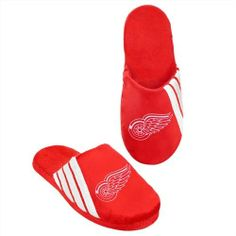 Detroit Red Wings 2012 Team Stripe Logo Slippers by Forever Collectibles. $12.95. Support your favorite team with these new Team Stripe Logo slippers from Forever Collectibles. These slippers come in your favorite team's colors and include the embroidered team logo. Extremely soft with a non-skid hard sole and very warm and comfortable. Makes the perfect gift! Comes is sizes S-XL. The size breakdown is as follows: Small (Shoe Size 7-8), Medium (Shoe Size 9-10), Large (Shoe...