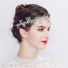 Silver Floral Bridal Headpiece Wedding Headband with Crystals Pearls Beads and Ribbons Hair Jewelry Bridesmaid Headband, Headpiece Wedding, Bridal Headpieces, Bridal Hair, Bridal Headbands, Headband Hairstyles, Wedding Hairstyles, Vides, Bride Hair Accessories